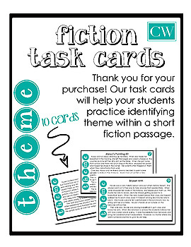Fiction Theme Task Cards with Short Passages and Answer Sheet