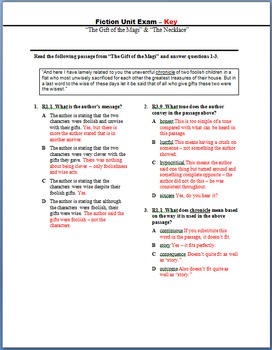 Fiction Unit Exam... All 12 ELA 9th/10th Standards