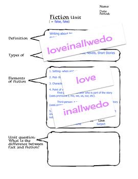 Fiction Unit Terms Cover Sheet