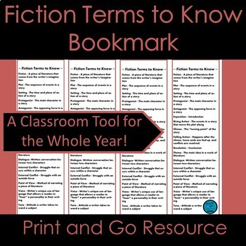 Fiction Unit Terms to Know Vocabulary Bookmarks
