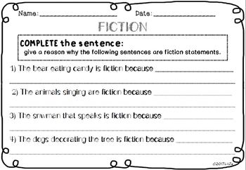 Fiction VS Non-Fiction CHRISTMAS cards + adapted worksheets First Grade