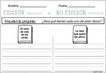 Fiction VS Non-Fiction Unit with several Graphic Organizers SPANISH