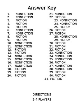Fiction VS Nonfiction Game