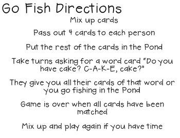 Fiction Vocabulary Go Fish