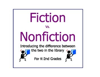 Fiction Vs. Nonfiction Introduction Worksheets SMART board Library Activities