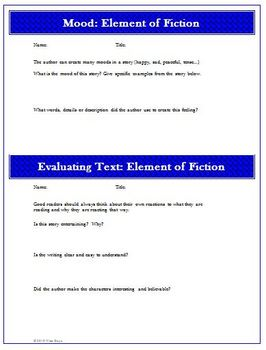 Fiction Worksheets, Activities: Common Core Reading Standards