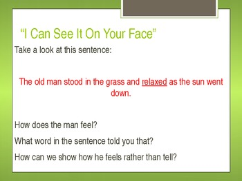Fiction Writing- Show Me Sentences