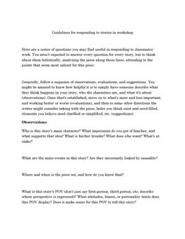 Fiction Writing Workshop Guidelines and Questions