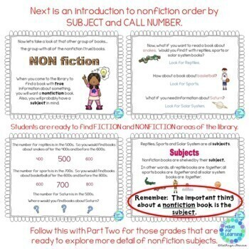 Library Skills: Fiction and Non-Fiction Order in the Media Center...Powerpoint
