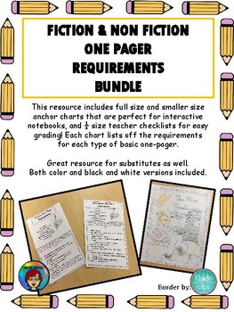 Fiction and Non Fiction One Pager Bundle, AVID One Pager Bundle