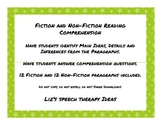 Fiction and Non-Fiction Paragraph Comprehension Main Idea and Details