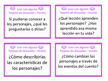 Fiction and Non-Fiction Reading Comprehension Discussion Cards (Spanish)