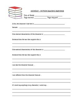 Fiction and Non-Fiction Reading Response Packet