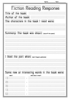 Fiction and Non-Fiction Reading Response Page ANY BOOK