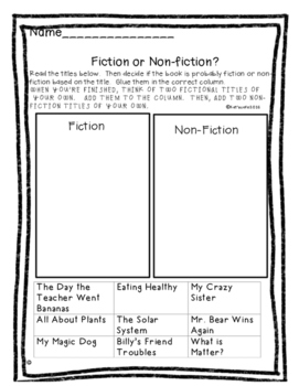 Fiction and Non-Fiction Sort