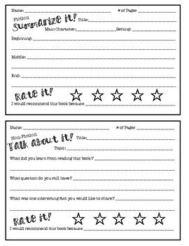 Fiction and Non-Fiction Summary/Recommendation Worksheets