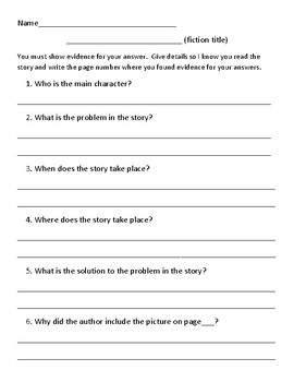 Fiction and Non Fiction Text Questions