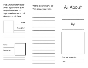 Fiction and Non Fiction Text Summary Brochures