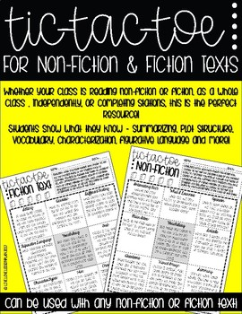 Fiction and Non-Fiction Tic-Tac-Toe Activity