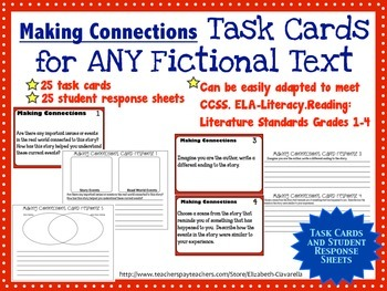 Fiction and NonFiction Task Cards with Student Response Sheets use with ANY text