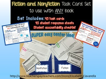 Fiction and NonFiction Task Cards with Student Response Sh
