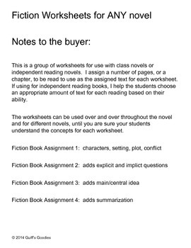Fiction and Nonfiction ANY book worksheets for Independent Reading