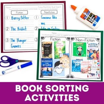 Fiction VS Nonfiction Activities - Pocket Chart Sort, Read/Write the Room & More