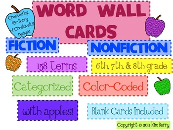 Fiction and Nonfiction Apple Word Wall Cards