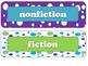 Fiction and Nonfiction Bookshelf Labels