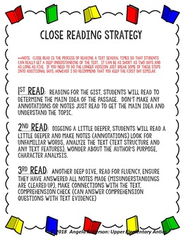 Distance Learning Comparing Close Read Packet