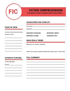 Fiction and Nonfiction Comprehension General Reading Response Questions