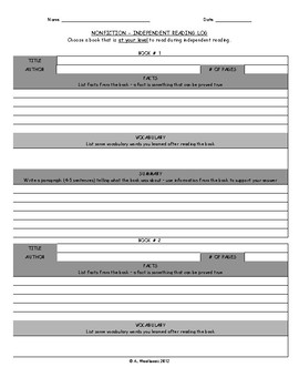Fiction and Nonfiction Independent Reading Log