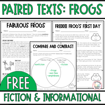 Fiction and Nonfiction Paired Text: Frogs  (RL.3.1 and RI.3.1) FREEBIE!