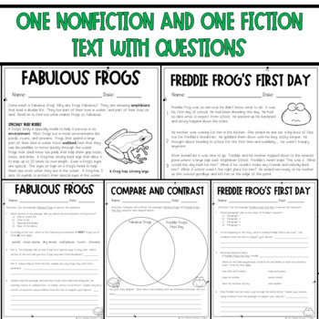 Paired Passages with Questions Frogs  (RL.3.1 and RI.3.1) FREEBIE!