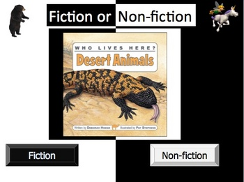 Fiction and Nonfiction Powerpoint Lesson and interactive notebook file