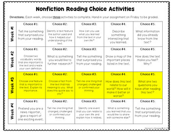Fiction and Nonfiction Reading Choice Activity Calendar Worksheets