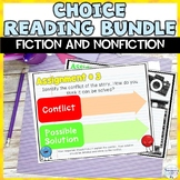 Fiction and Nonfiction Reading Choice Activity Menu Calendar Worksheets Bundle