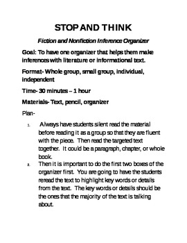 Fiction and Nonfiction Inferencing Comprehension Organzier for the Common Core