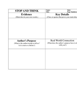 Fiction and Nonfiction Inferencing Comprehension Organzier