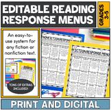 Fiction and Nonfiction Reading Response Menus   Editable