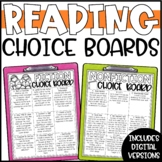 Fiction and Nonfiction Reading Response Choice Boards BUNDLE