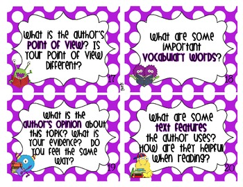 Fiction and Nonfiction Reading Response Task Cards Common Core Aligned