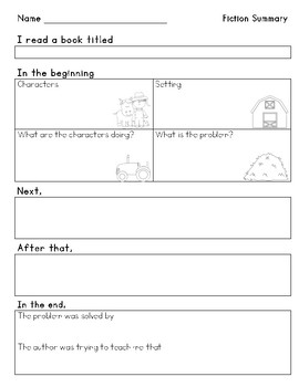Fiction and Nonfiction Summary Helper
