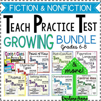 FICTION & NONFICTION READING -TEACH PRACTICE TEST BUNDLE-MIDDLE SCHOOL ELA
