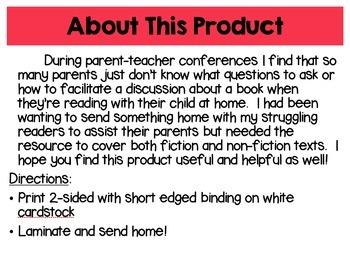 Fiction and Nonfiction Text Parent Discussion Guide Bookmarks