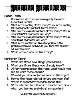 Fiction and Nonfiction Texts Writing Response Guide for Students
