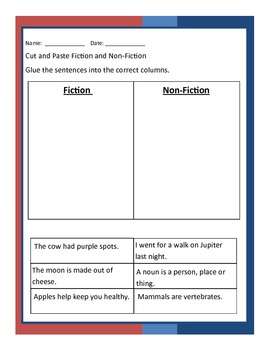 Fiction or Non Fiction? (Cut and Paste)