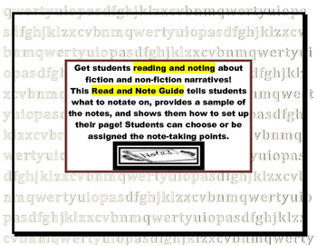 Fiction or Non-fiction Narratives Read and Note Guide