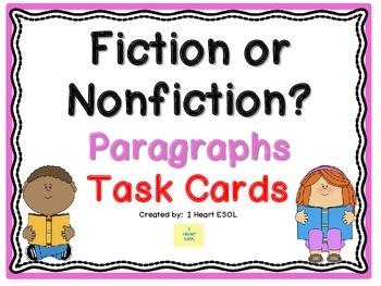 Fiction or Nonfiction Paragraphs Task Cards