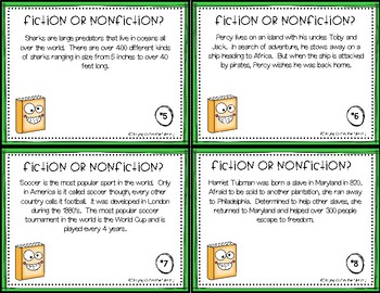 Fiction or Nonfiction Task Cards Set #2